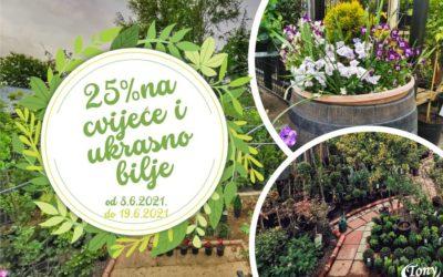 25% popusta na svo cvijeće i ukrasno bilje u Vrtnom centru Tony